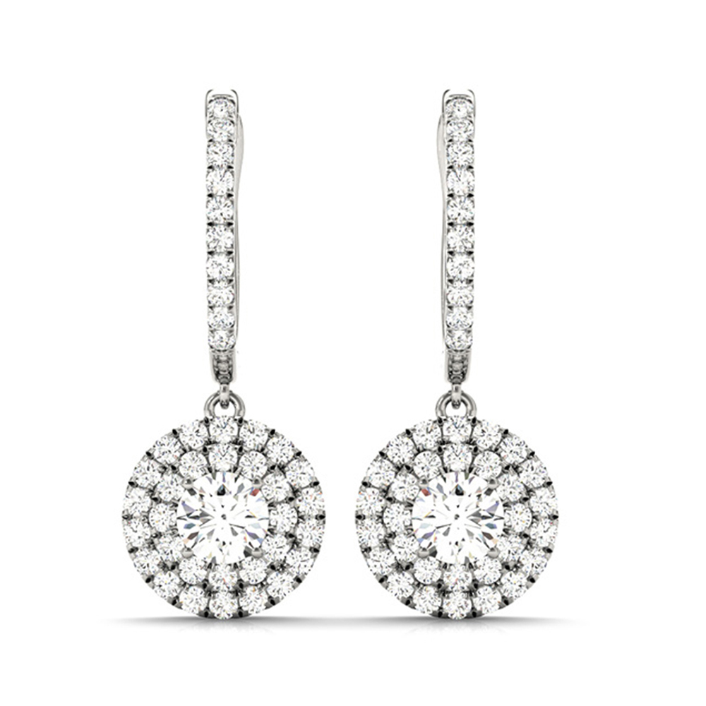 18K White Gold Double Halo Diamond Earring