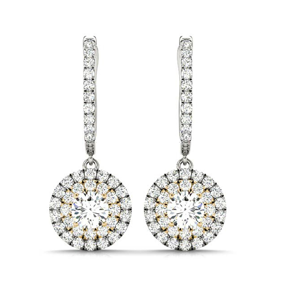 Hoop Halo Drop Diamond Earring