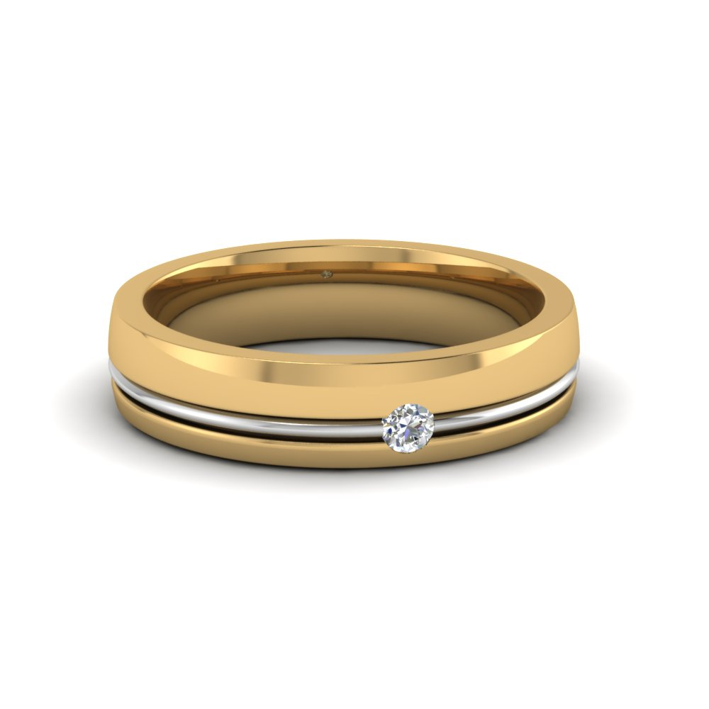 glittering 14k yellow gold wedding bands for him and