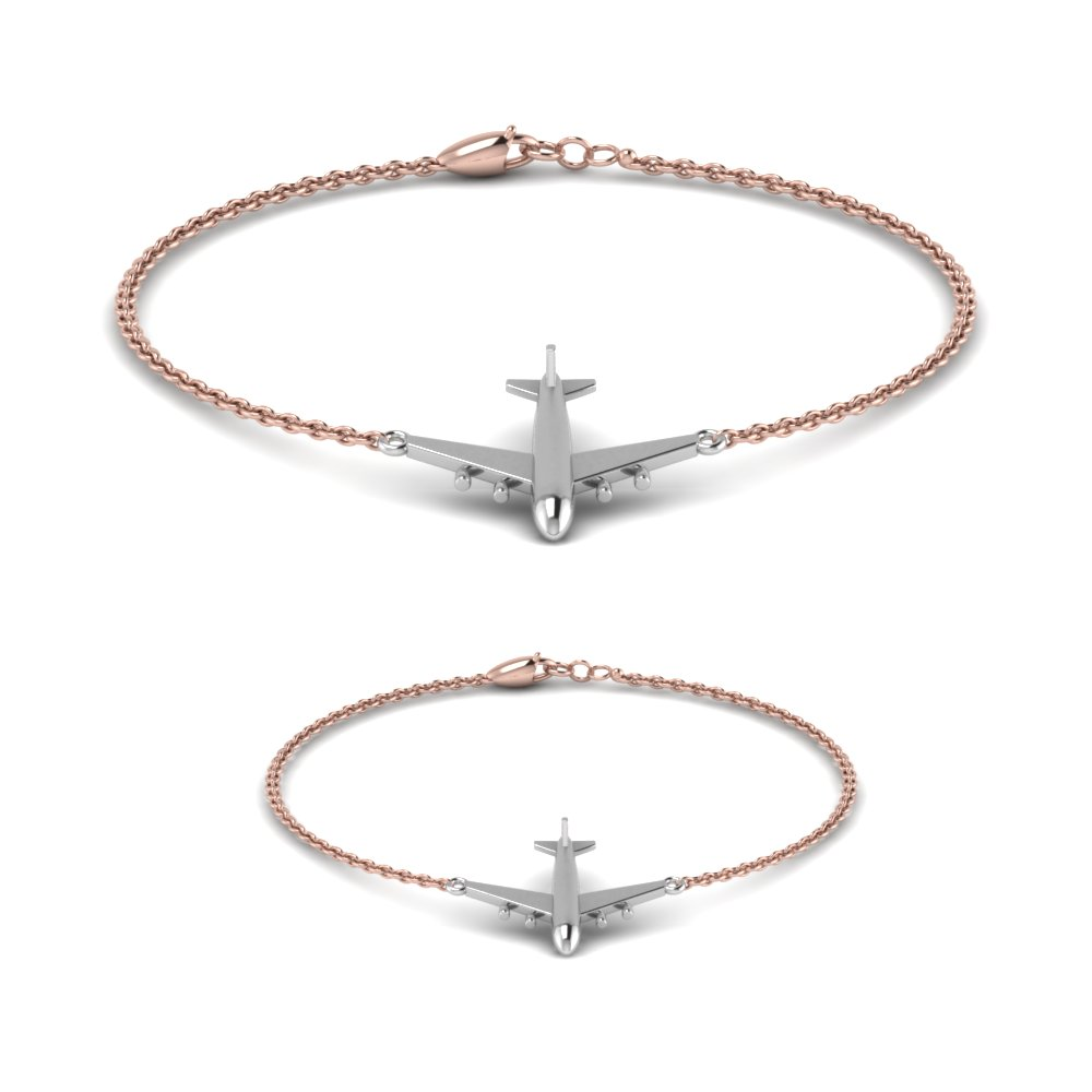 two-tone-mother-son-aeroplane-bracelet-in-FDBRC9059-NL-RG