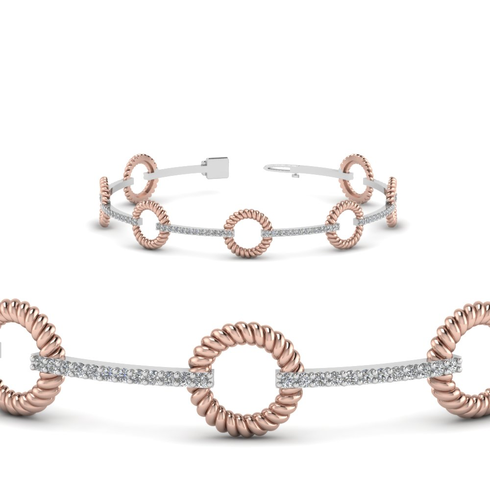 Two Tone Open Round Diamond Bracelet Anniversary Gifts In 14K Rose