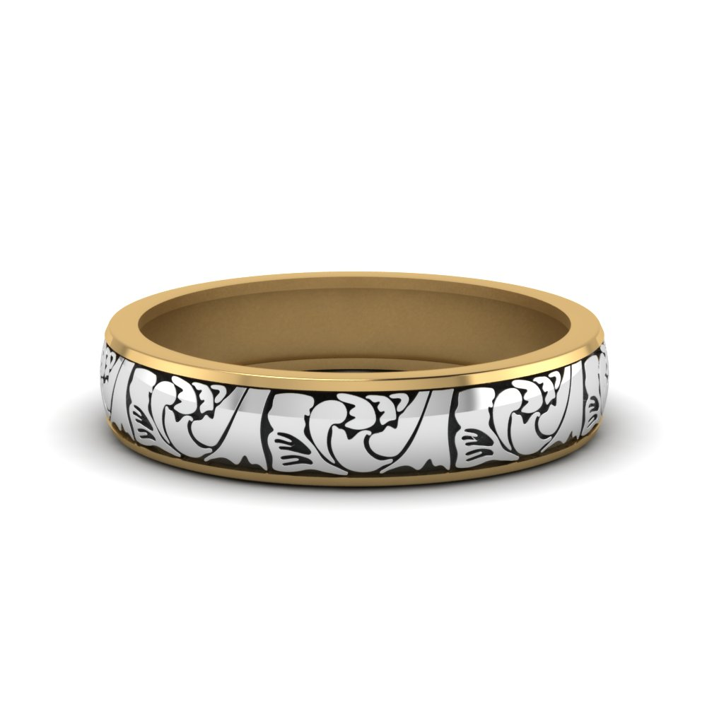 two tone paisley wedding band yellow gold FD908WB NL YG