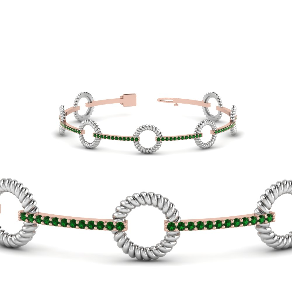 two tone rope style emerald bracelet anniversary gifts in FDOBR70349GEMGRANGLE2 NL WG GS