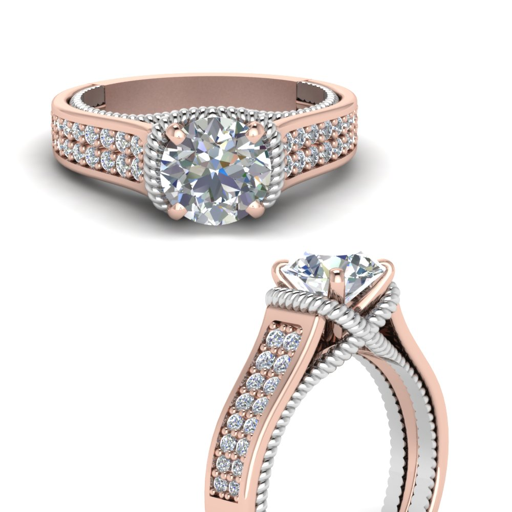 Two Tone Rope Style Moissanite Ring In 14k Rose Gold Fascinating Diamonds