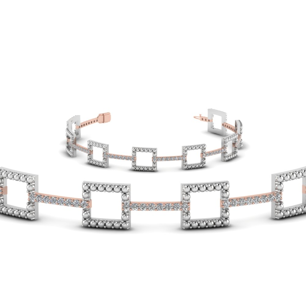 Two Tone Square Milgrain Diamond Bracelets