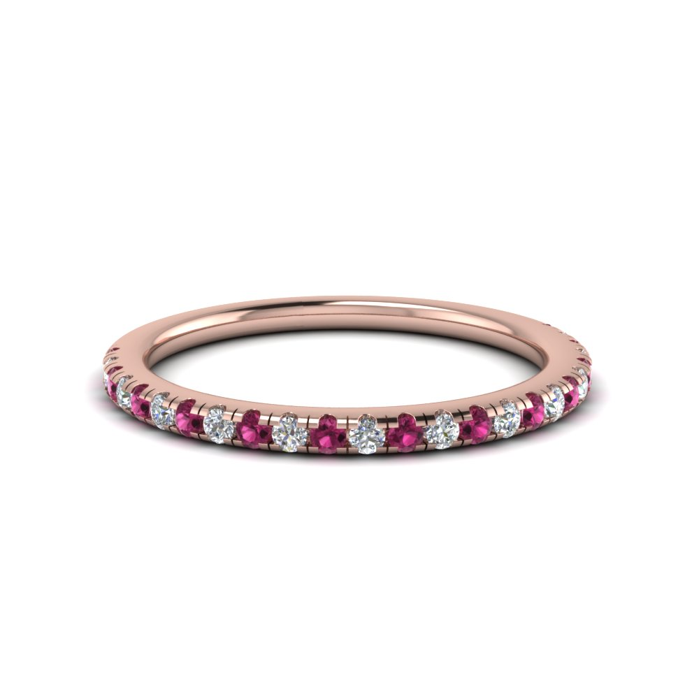 0.25 carat diamond u prong wedding band with pink sapphire in FD8362BGSADRPI NL RG