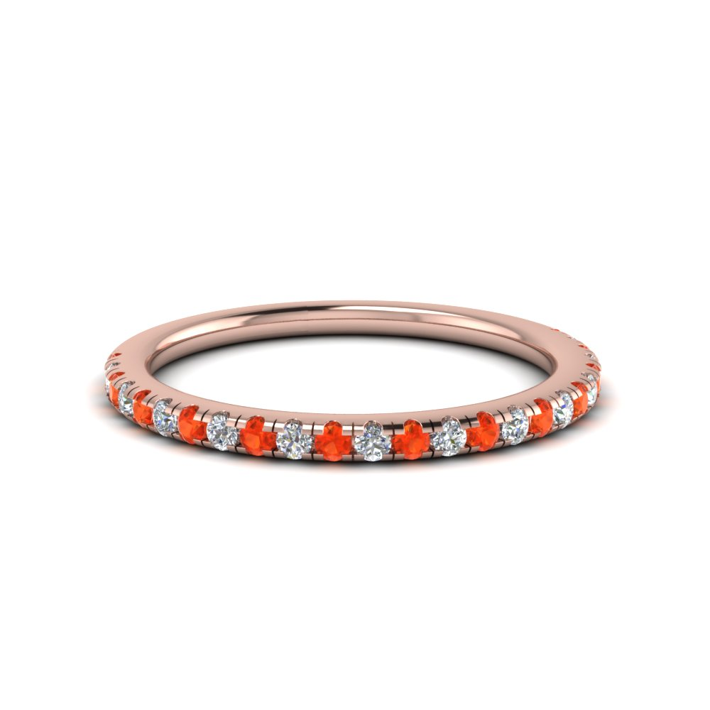 Orange Topaz Rose Gold Band