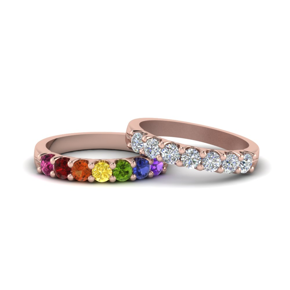 18k pink gold lesbian couple rings u prong lesbian rainbow diamond wedding - Rainbow Wedding Rings