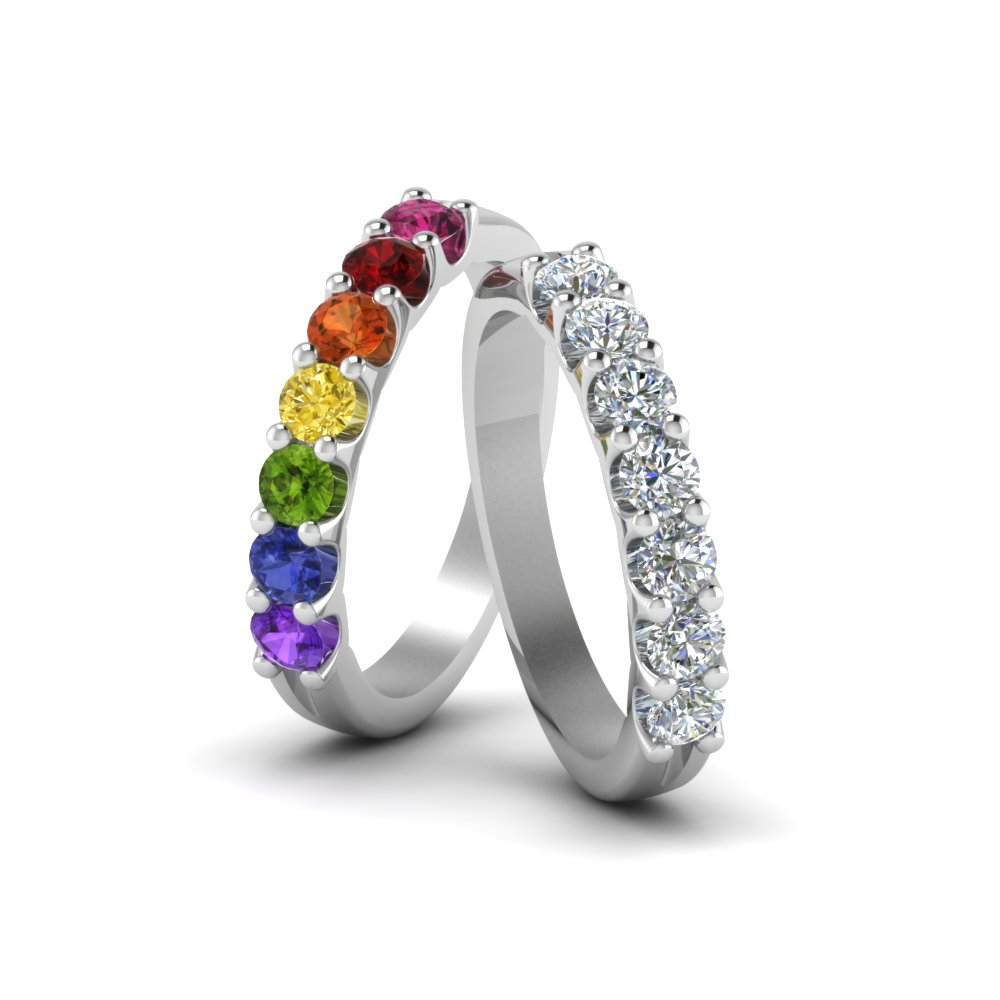 lesbian pridezillas wedding choosing rings gay proud black ring diamond can equalli and com lgbt rainbow bands