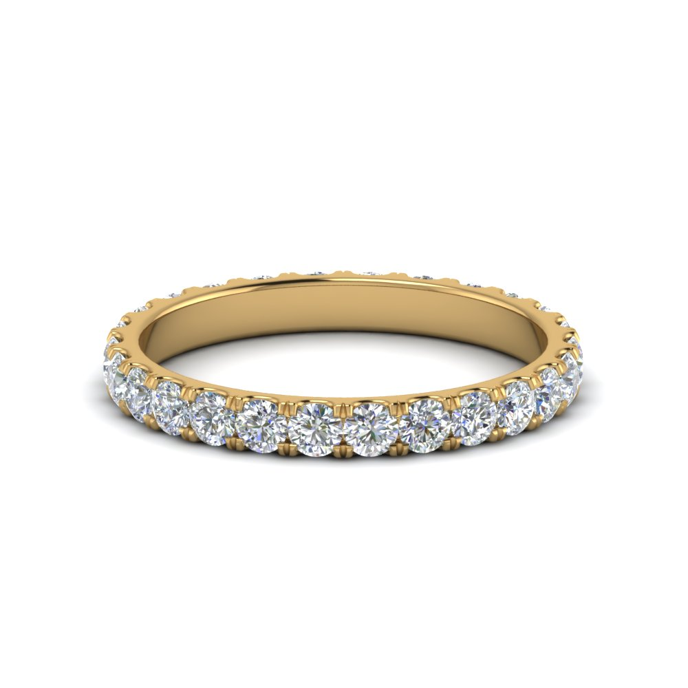u prong round cut diamond eternity band one carat in FDEWB8371-1.0CTBNL YG