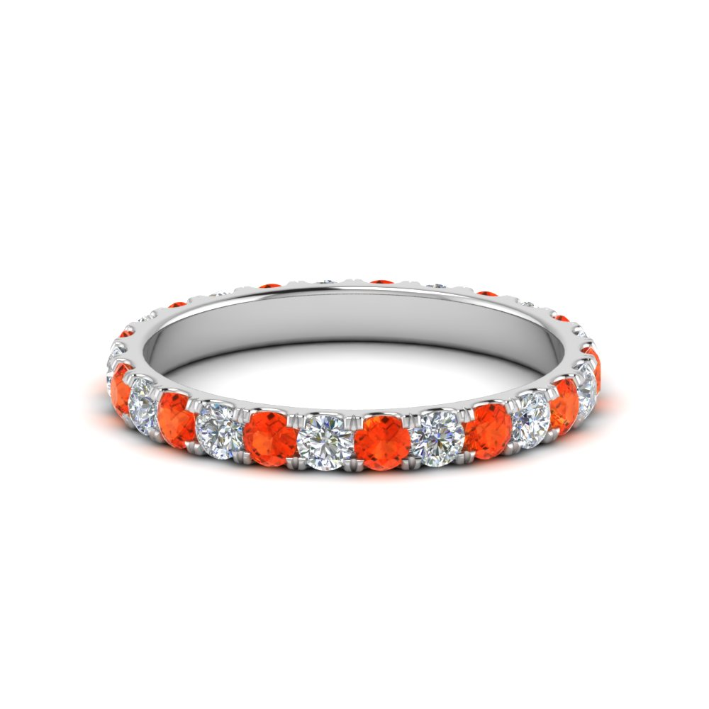 u prong round cut diamond eternity band one carat with orange topaz in FDEWB8371 1.0CTBGPOTO NL WG