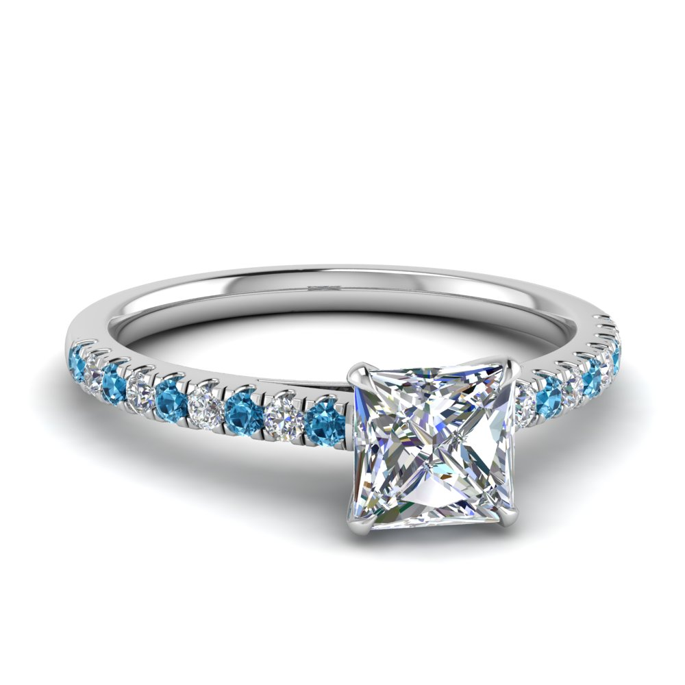 u prong thin princess cut diamond engagement ring with blue topaz in FD9154PRRGICBLTO NL WG.jpg