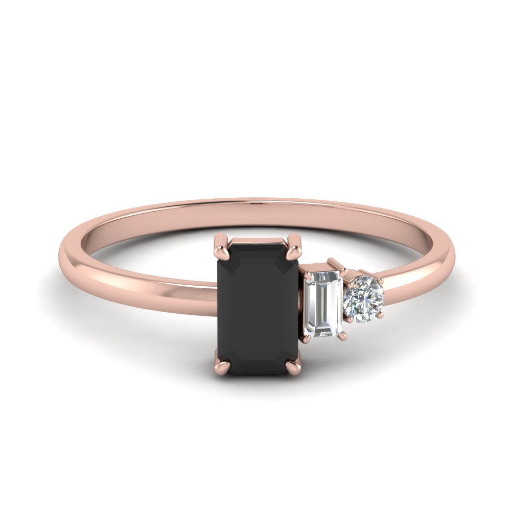 Unconventional Wedding Ring For Women With Black Diamond In 18k Rose Gold Fascinating Diamonds