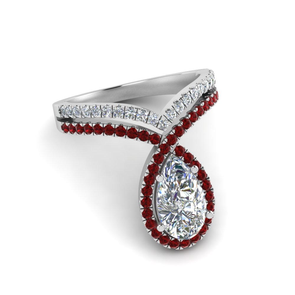 Unique 2 Ct. Halo Ruby Ring