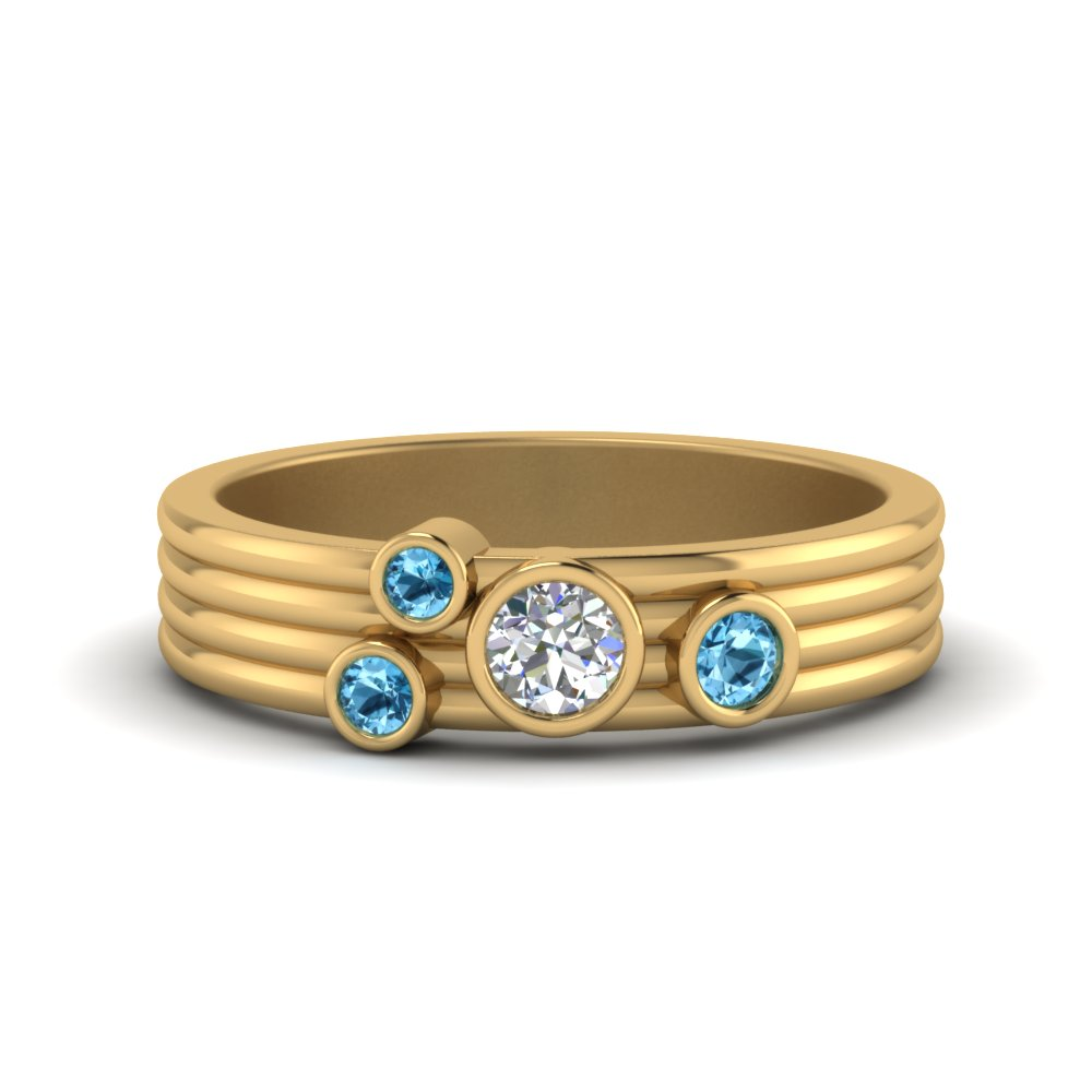 18K Gold Topaz Bezel Set Band