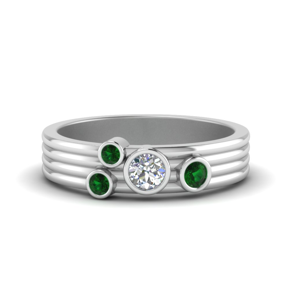 Bezel Set Emerald Band In 18K White Gold