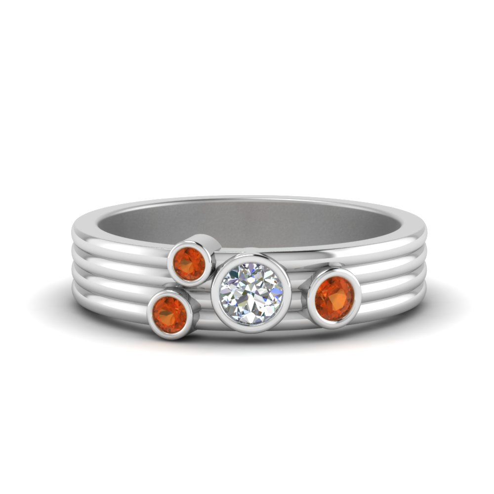 Platinum Orange Sapphire Unique Band