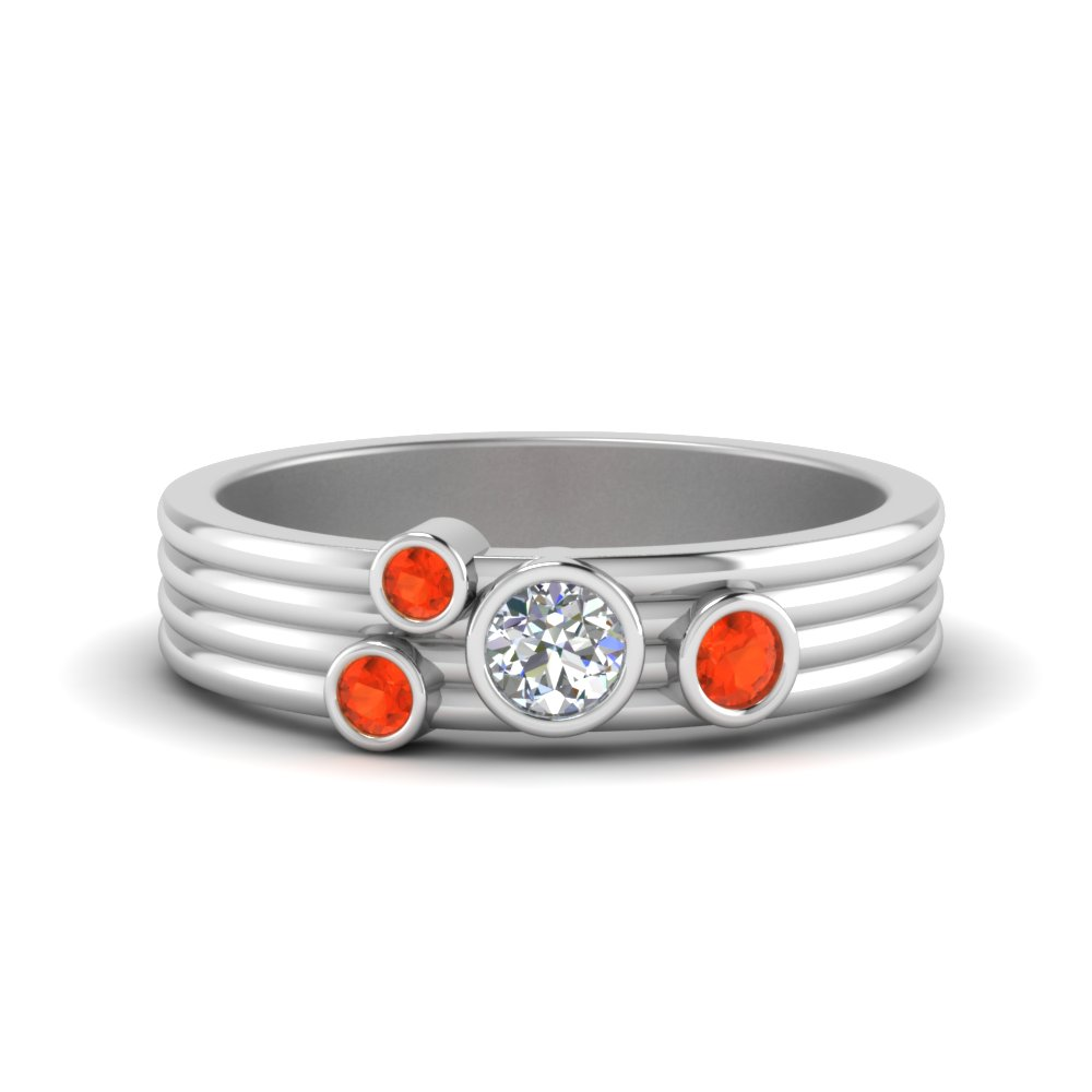 Bezel Set Orange Topaz Band