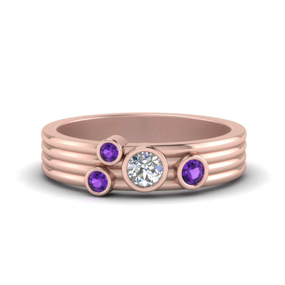 Unique 14K Rose Gold Purple Topaz Band
