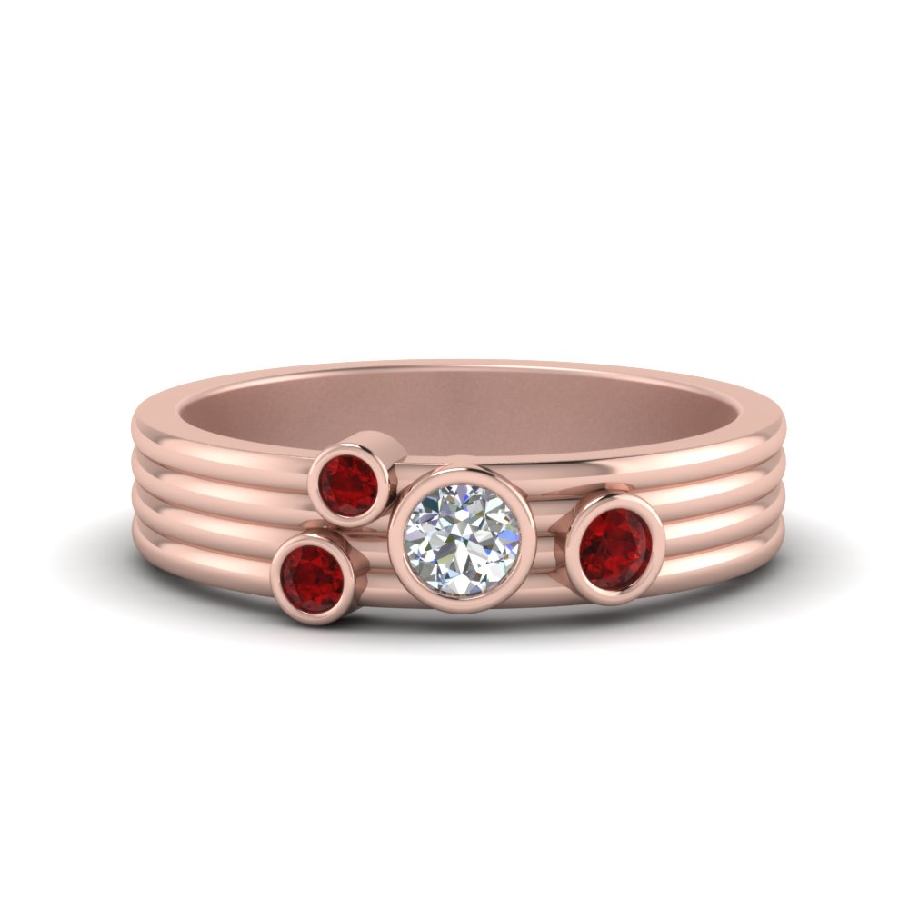 18K Rose Gold Ruby Bezel Set Band