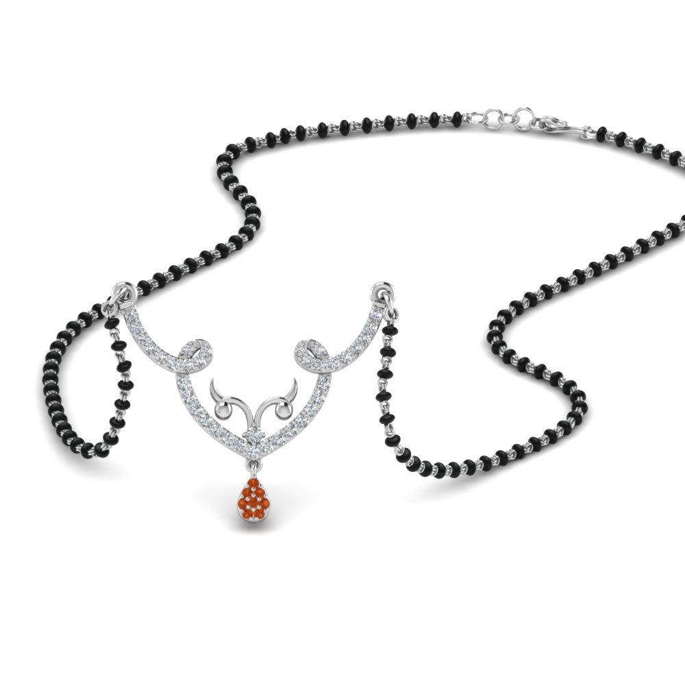 Mangalsutra Necklace With Orange Sapphire