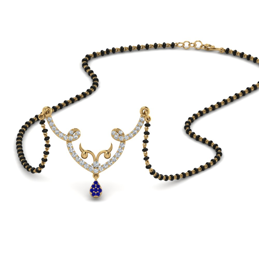 Blue Sapphire Mangalsutra Necklace For Her