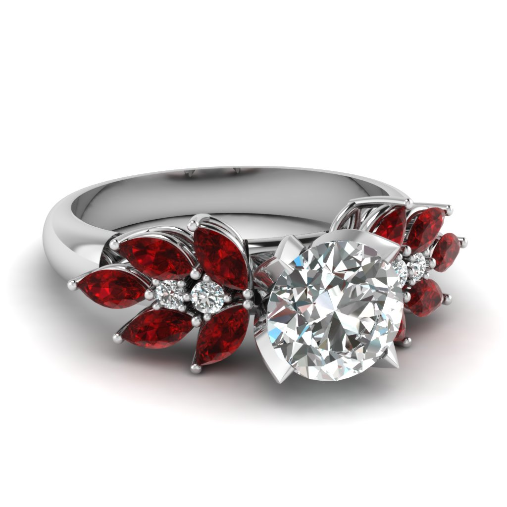 Unique Marquise Diamond Vintage Engagement Ring With Ruby In 18k