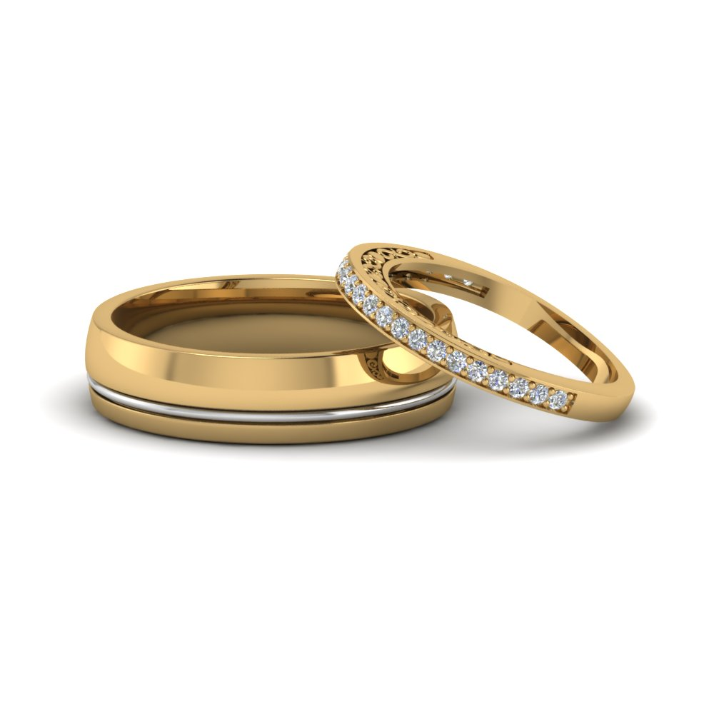 unique matching wedding anniversary bands gifts for him and her in 14K yellow gold FD8079B NL YG