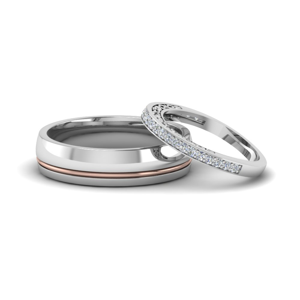 Unique Matching Wedding Anniversary Bands Gifts For Him And Her In 18k White Gold Fd8079b Nl