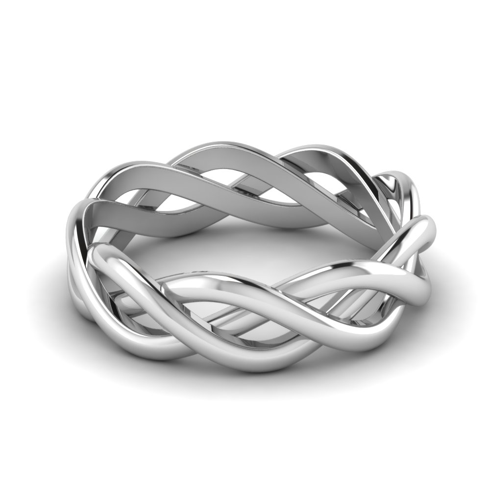 Infinity 14k White Gold Mens Wedding Band
