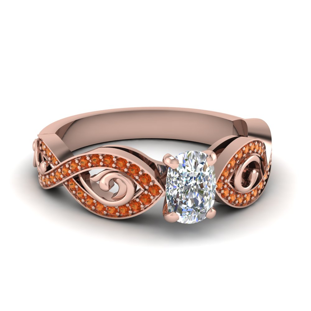 14k rose gold cushion cut vintage engagement rings