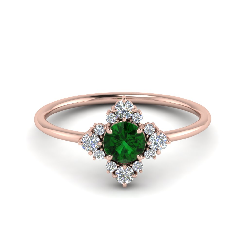 Flower Ring With Emerald