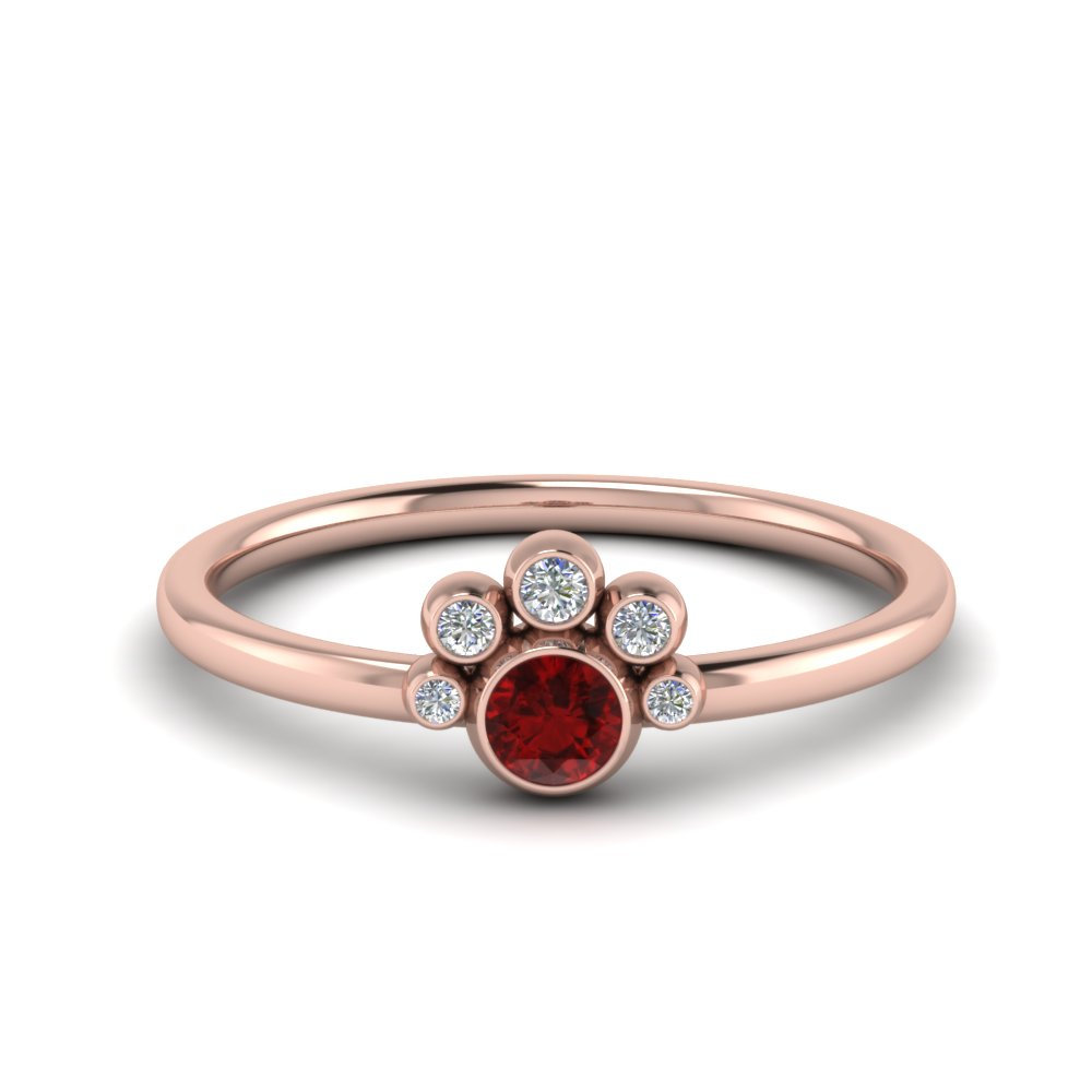 Unusual Ruby Bezel Set Engagement Ring