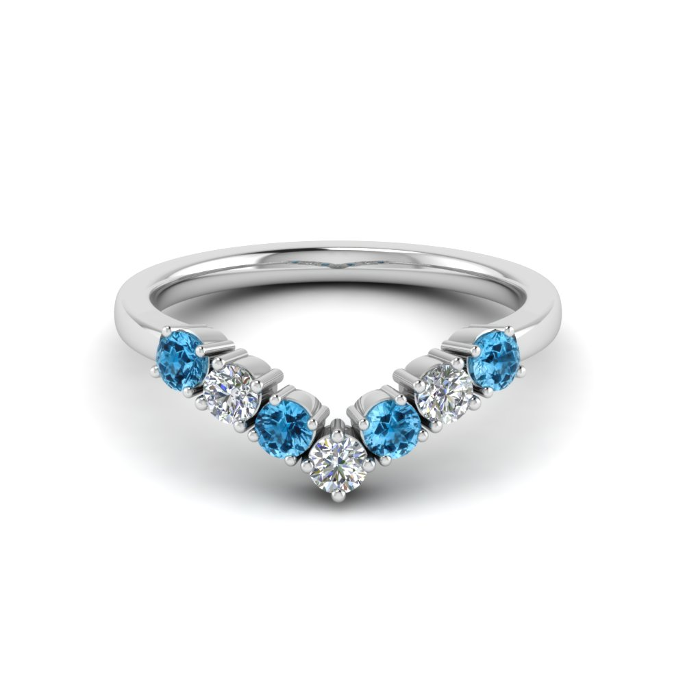 V Design Wedding Band With Blue Topaz