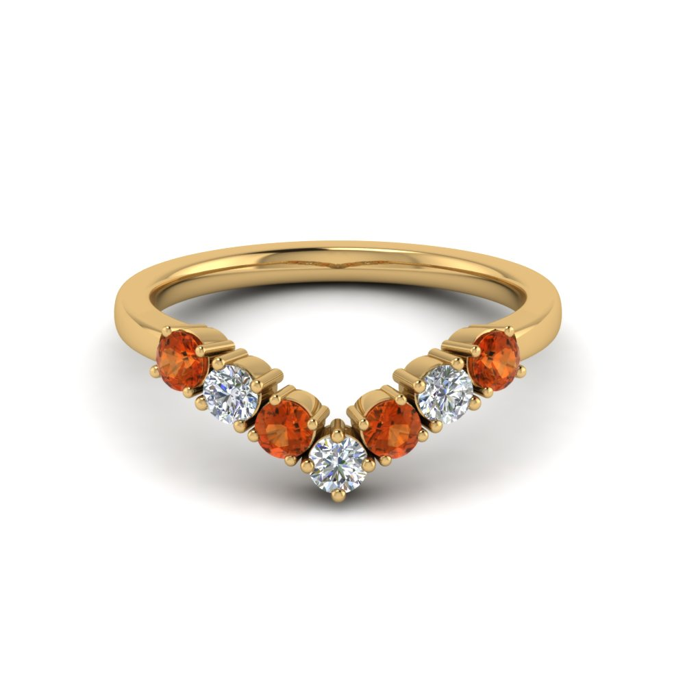 v design 7 diamond anniversary band with orange sapphire in 14K yellow gold FD8204BGSAOR NL YG