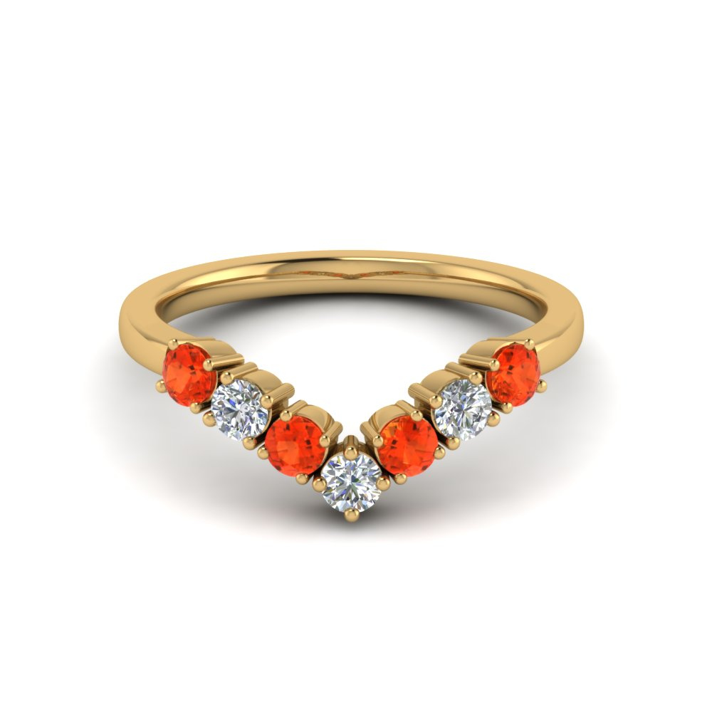 v design 7 diamond anniversary band with orange topaz in 14K yellow gold FD8204BGPOTO NL YG