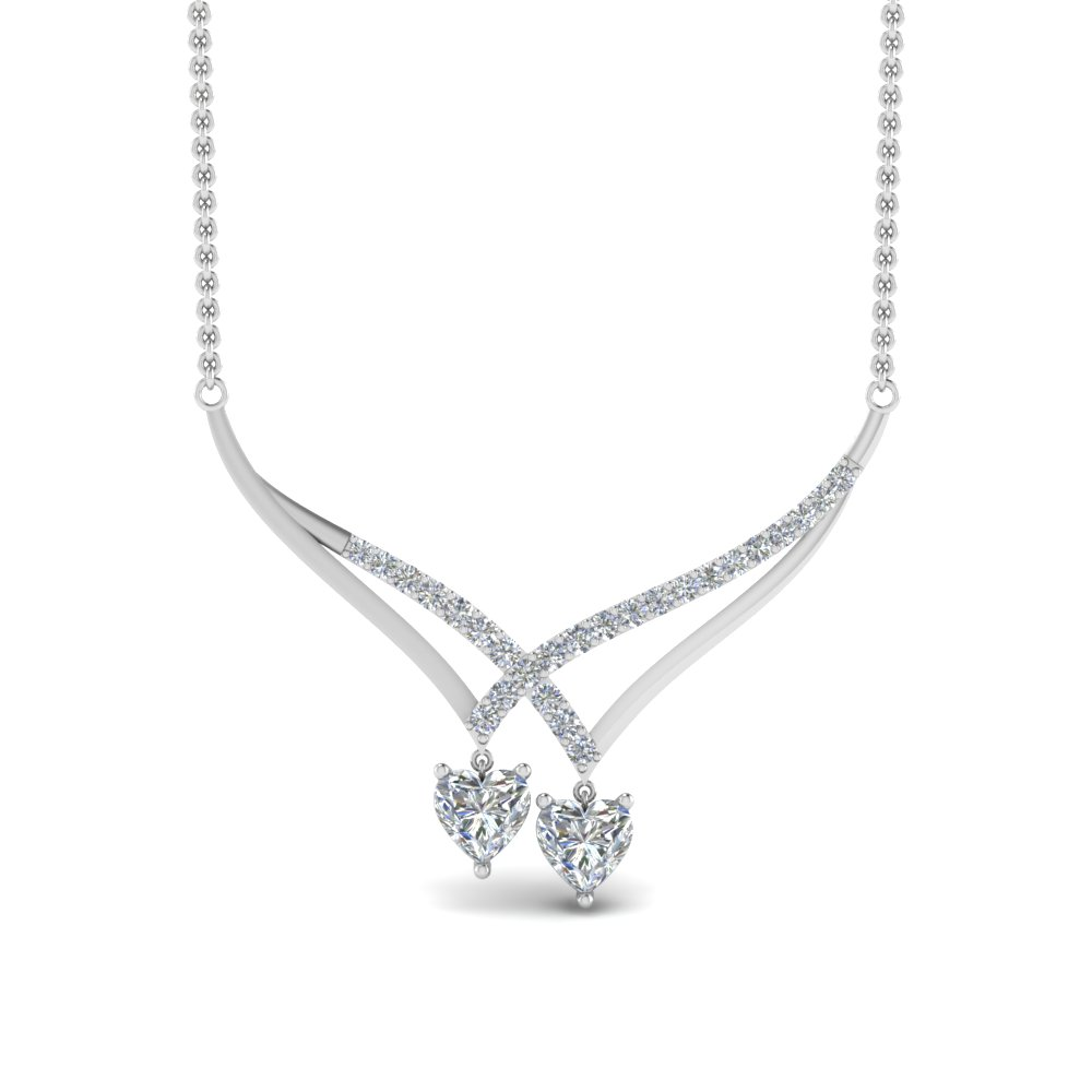 V Design Diamond Drop Necklace