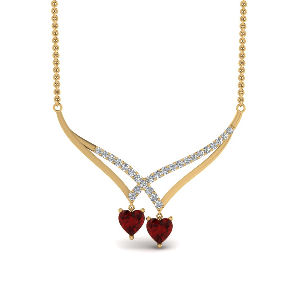 v-design-diamond-dual-drop-necklace-with-ruby-in-FDPD8832GRUDRANGLE2-NL-YG