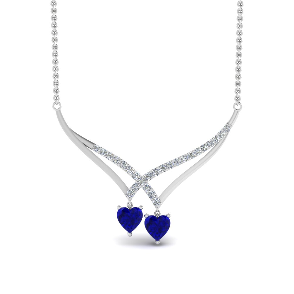 V Design Diamond Dual Drop Necklace