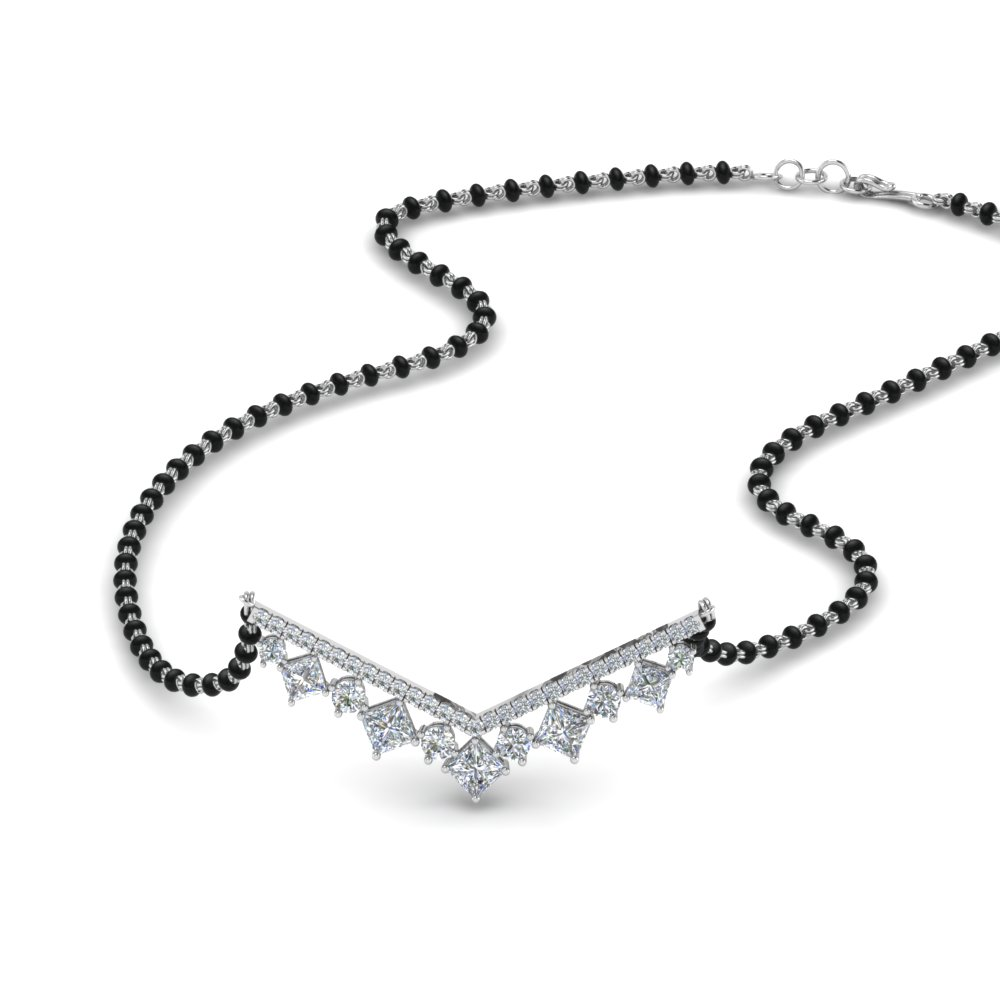 Graduated Diamond Mangalsutra With Beads