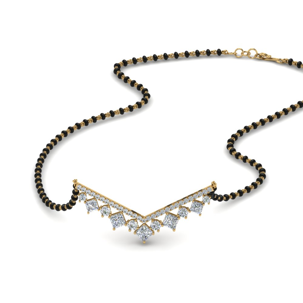 14K Yellow Gold Diamond Mangalsutra