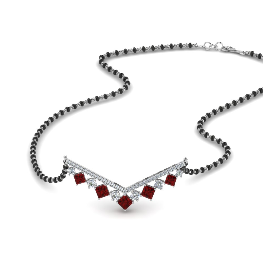 14K White Gold Ruby Mangalsutra
