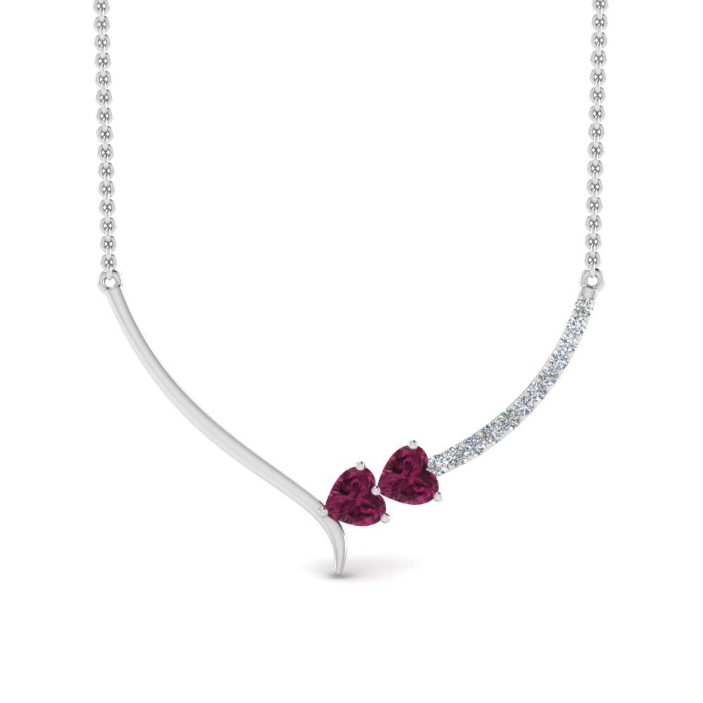 V Shaped Pink Sapphire Necklace