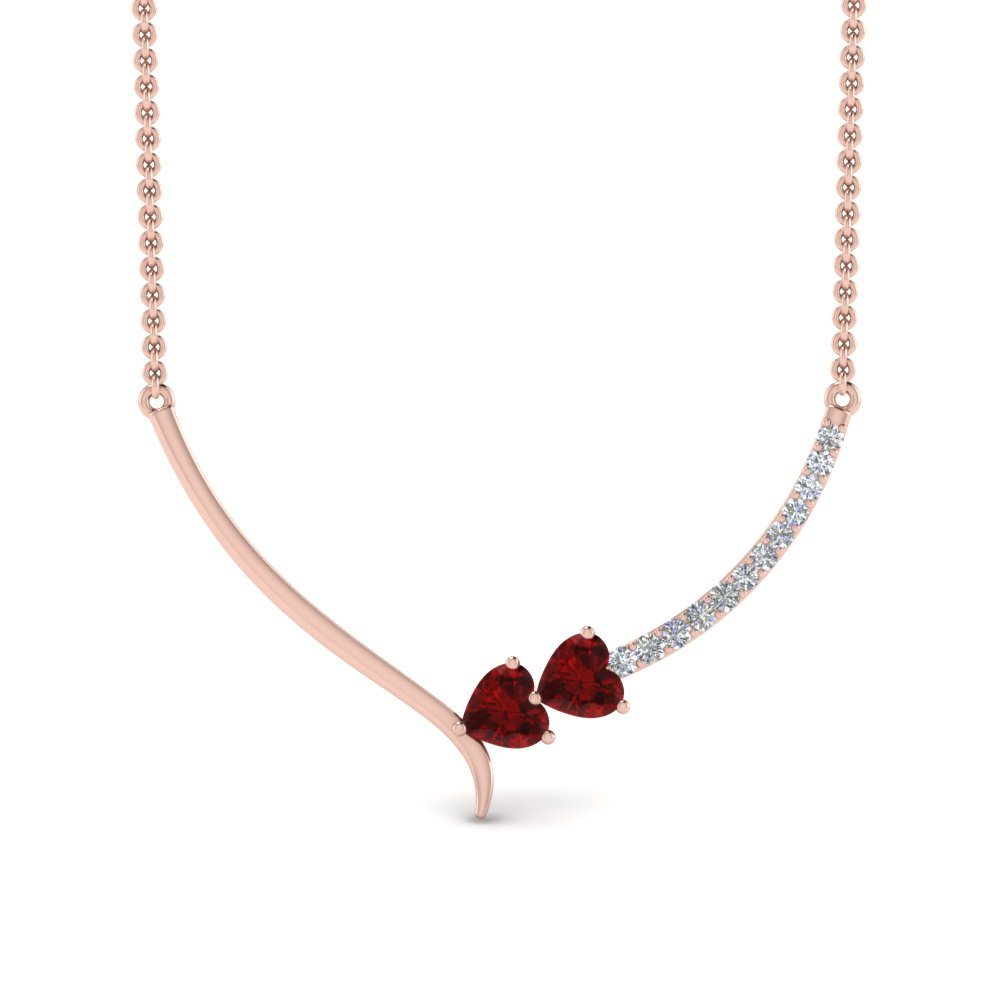 v shaped diamond heart ruby necklace in FDPD8836GRUDRANGLE2 NL RG