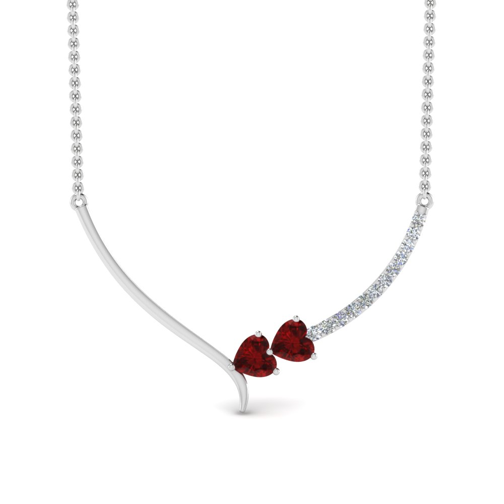 V Shaped 2 Heart Diamond Necklace