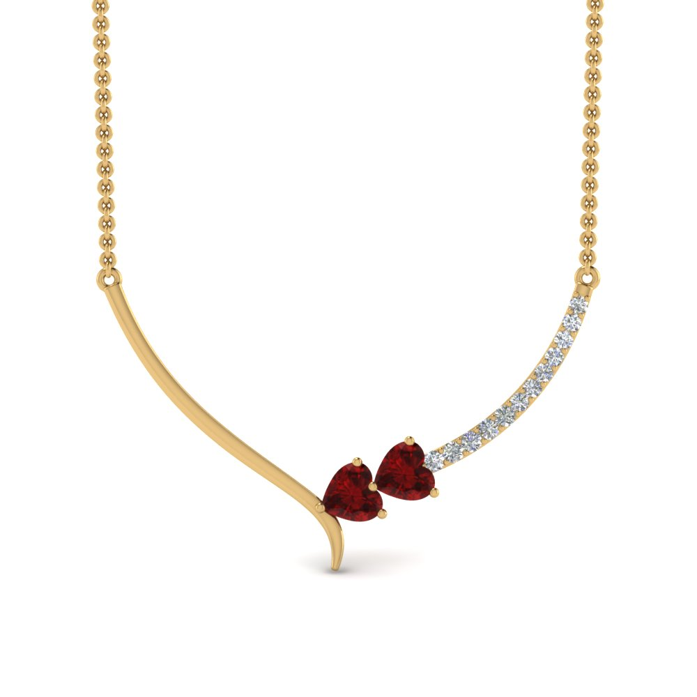 V Shaped Ruby Heart Necklace