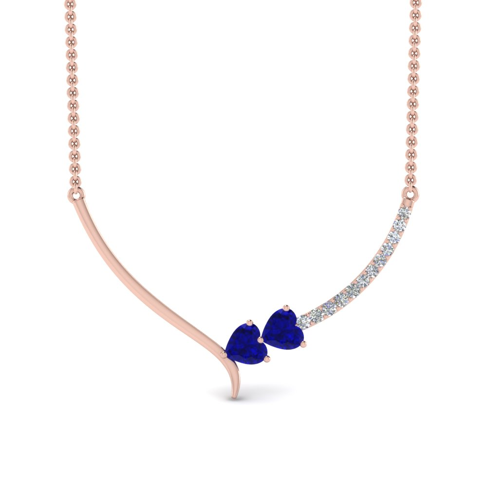 v shaped diamond heart sapphire necklace in FDPD8836GSABLANGLE2 NL RG