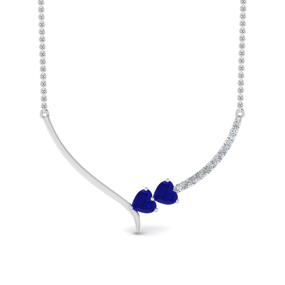 v shaped diamond heart sapphire necklace in FDPD8836GSABLANGLE2 NL WG