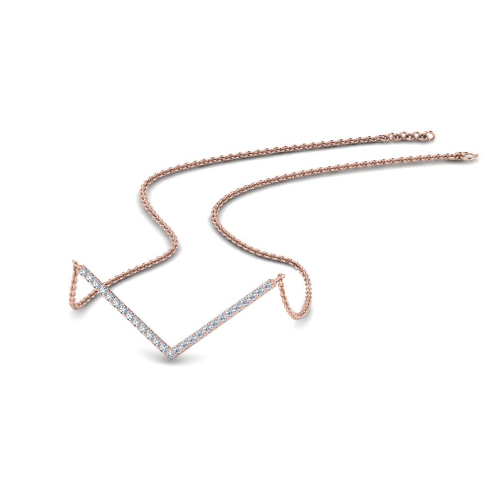 V Shaped Diamond Chain Necklace