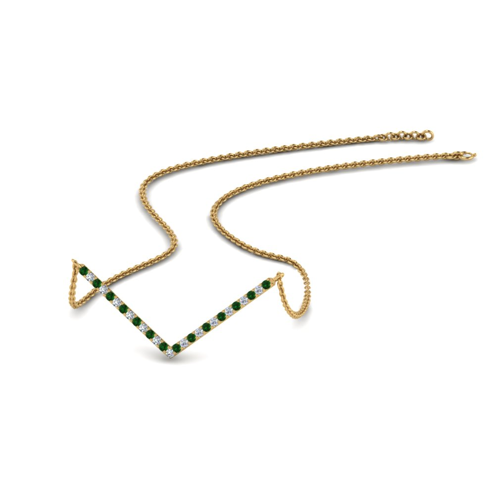 V Shaped Diamond Necklace With Emerald In 14K Yellow Gold